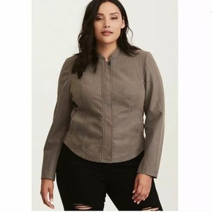 Torrid Gray Cropped Faux Leather Jacket 2 Plus